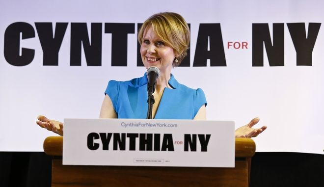 New York candidate for governor Cynthia Nixon speaks during her first campaign stop at the Bethesda Healing Center church, Tuesday March 20, 2018, in the Brownsville section of Brooklyn in New York.    Nixon will challenge New York Gov. Andrew Cuomo for the Democratic nomination.   (AP Photo/Bebeto Matthews)