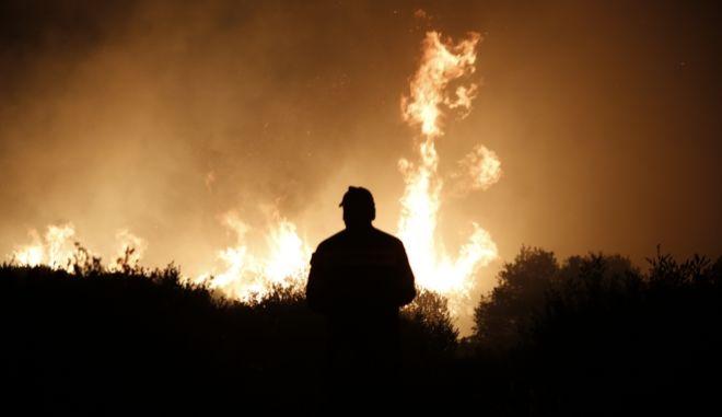 Μεγάλη πυρκαγιά εκδηλώθηκε σήμερα το μεσημέρι σε δασική έκταση στην περιοχή Καλυβίων Θορικού Αττικής. Δευτέρα, 31 Ιουλίου 2017 (EUROKINISSI / ΣΤΕΛΙΟΣ ΜΙΣΙΝΑΣ)