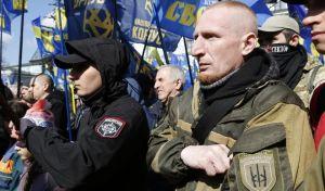 Στιγμιότυπο από συγκέντρωση ακροδεξιών στο Κίεβο