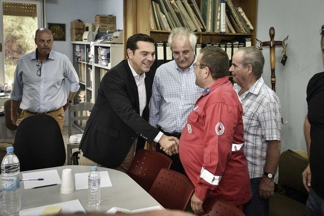 Oversight of fire fighting on Thassos Island by Prime Minister Alexis Tsipras, Thassos, Greece on September 12, 2016. /             , , 12  2016.