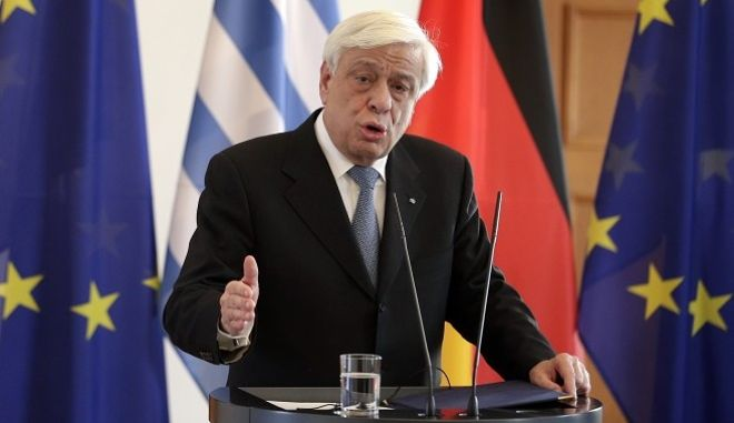 The President of Greece, Prokopis Pavlopoulos, addresses the media during a joint press statement with German President Joachim Gauck as part of a meeting at the Bellevue Palace in Berlin, Germany, Monday, Jan. 18, 2016. (AP Photo/Michael Sohn)