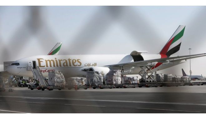 An Emirates Airline cargo plane loads goods at the Al Maktoum International Airport in Dubai, United Arab Emirates, Monday, Nov. 9, 2015. Emirates, the Mideasts top airline, has expanded its cargo operation out to Dubais new airport as it looks toward the future. (AP Photo/Kamran Jebreili)