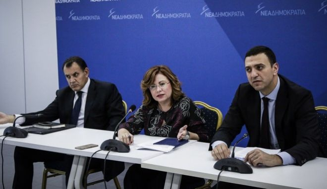 Δόθηκε σήμερα, Παρασκευή 10 Νοεμβρίου 2017, έκτακτη συνέντευξη τύπου στα γραφεία της Νέας Δημοκρατίας από την εκπρόσωπο τύπου κυρία Μαρία Σπυράκη και τον Τομεάρχη Αμύνης κ. Βασίλη Κικίλια, με θέμα τις νέες αποκαλύψεις στο σκάνδαλο της πώλησης αμυντικού υλικού στη Σαουδική Αραβία στο οποίο εμπλέκεται ο κ. Πάνος Καμμένος (EUROKINISSI//Γιάννης Παναγόπουλος)