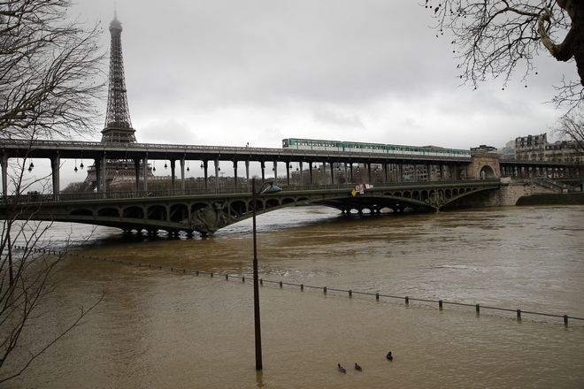 Ducks swim past a flooded street lamp in Paris, Tuesday, Jan.23, 2018. The Seine River has overflowed its banks in Paris, prompting authorities to close several roads and cancel boat cruises. Paris City Hall closed roads along the shores of the Seine from the east of the capital to the area around the Eiffel Tower in the west as water levels rose at least 3.3 meters (nearly 11 feet) above the normal level. (AP Photo/Christophe Ena)