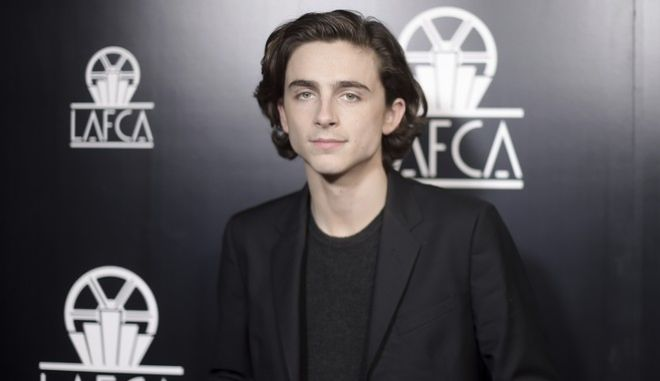 Timothee Chalamet attends the 43rd Annual Los Angeles Film Critics Association Awards on Saturday, Jan. 13, 2018, in Los Angeles. (Photo by Richard Shotwell/Invision/AP)