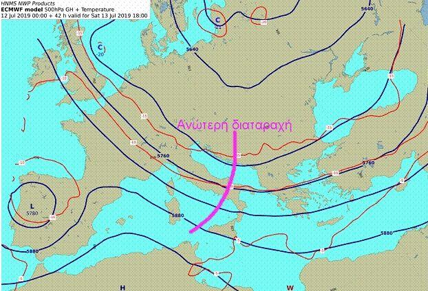 Χάρτης 500 hPa Σάββατο 18:00UTC