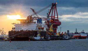 Το ειδικό πλοίο που χρησιμοποιείται για κατασκευαστικές εργασίες στον αγωγό φυσικού αερίου Γερμανίας-Ρωσίας Nord Stream-2 στην Βαλτική θάλασσα.