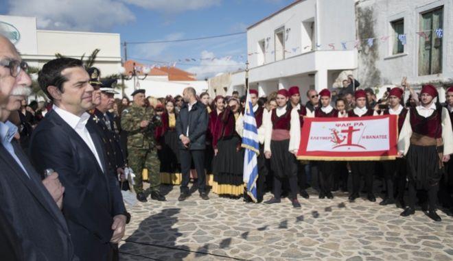 Επίσκεψη του Πρωθυπουργού, Αλέξη Τσίπρα, στα Ψαρά για την επέτειο της 25ης Μαρτίου 1821, την Κυριακή, 25 Μαρτίου 2018. (EUROKINISSI/ΓΡΑΦΕΙΟ ΤΥΠΟΥ ΠΡΩΘΥΠΟΥΡΓΟΥ/ ANDREA BONNETI)