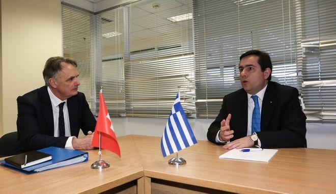Συνάντηση  του υπουργού Μετανάστευσης και Ασύλου, Νότη Μηταράκη με αντιπροσωπεία αξιωματούχων της ελβετικής Κυβέρνησης