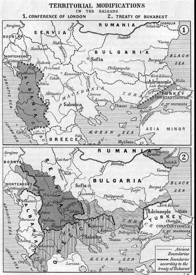 Τα σύνορα στα Βαλκάνια μετά τον Α΄ και το Β΄ Βαλκανικό Πόλεμο (1912–1913)