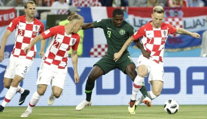 Στιγμιότυπο από τον αγώνα μεταξύ Κροατίας και Νιγηρίας