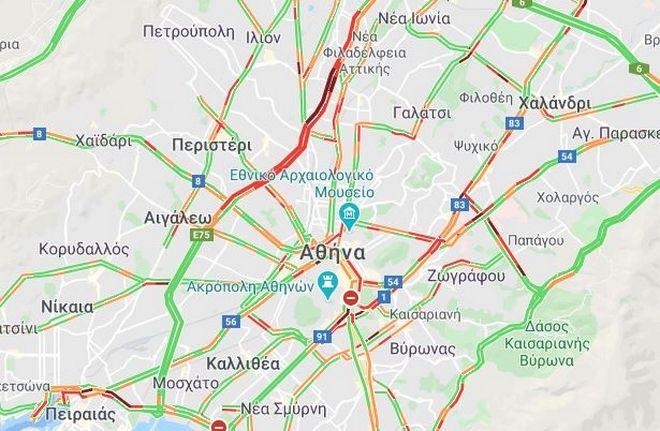 Κίνηση στους δρόμους: Μεγάλα προβλήματα στο κέντρο - Μποτιλιάρισμα στον Κηφισό