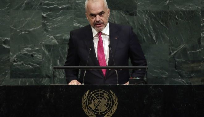 Prime Minister Edi Rama of Albania addresses the United Nations General Assembly, at U.N. headquarters, Friday, Sept. 22, 2017. (AP Photo/Richard Drew)