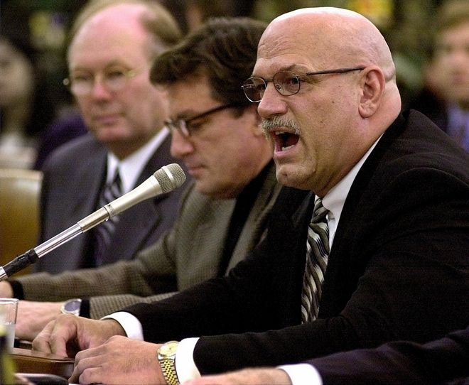 Minnesota Gov. Jesse Ventura testifies on Capitol Hill Thursday March 30, 2000 before the House Ways and Means Committee hearing to review prospects for U.S. participation in the World Trade Organization. (AP Photo/Dennis Cook)