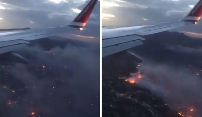 Βίντεο-αποκάλυψη: Η φωτιά στην Ανατολική Αττική από αεροπλάνο