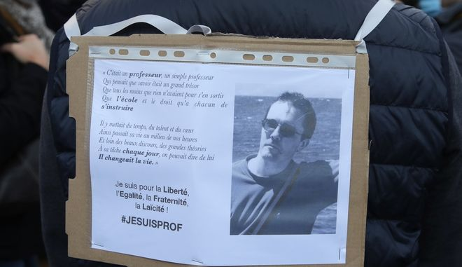 Από τις διαδηλώσεις μετά τη δολοφονία του καθηγητή τον περασμένο Οκτώβριο στο Παρίσι.