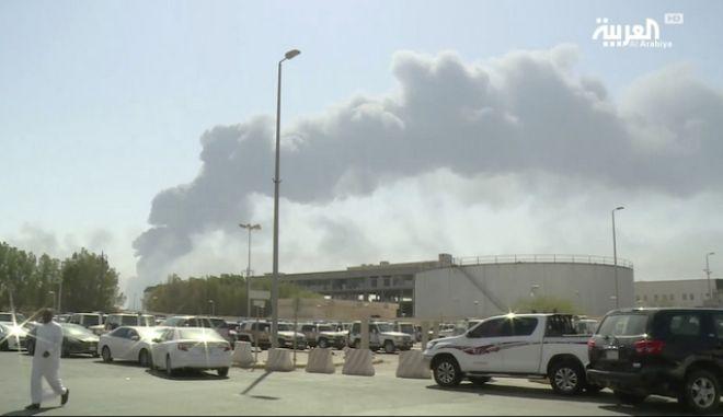 Εικόνα από τη Σαουδική Αραβία μετά τις επιθέσεις σε πετρελαϊκές εγκαταστάσεις