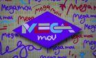 Λογότυπο του MEGA Channel σε τηλεόραση, ενόψει της πρεμιέρας του