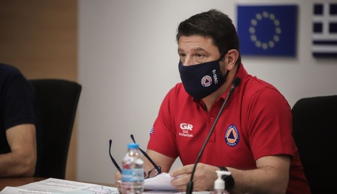 Ευρεία  σύσκεψη στο Κέντρο Επιχειρήσεων της Πολιτικής Προστασίας (κτίριο Φάρος), για το συνεχή συντονισμό όλων των εμπλεκόμενων φορέων Πολιτικής Προστασίας, ενόψει του ακραίου καιρικού φαινομένου (Μεσογειακός Κυκλώνας Ιανός) που αναμένεται να πλήξει μεγάλο μέρος της χώρας μας κατά τις επόμενες ημέρες. (EUROKINISSI/ΒΑΣΙΛΗΣ ΡΕΜΠΑΠΗΣ)