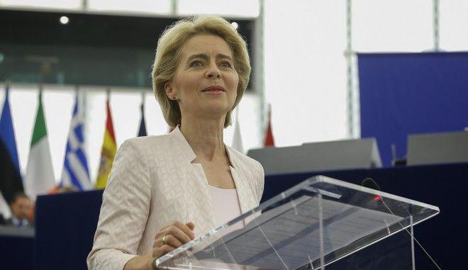 Η πρόεδρος της Κομισιόν Ούρσουλα φον ντερ Λάιεν στο ευρωπαϊκό κοινοβούλιο στο Στρασβούργο