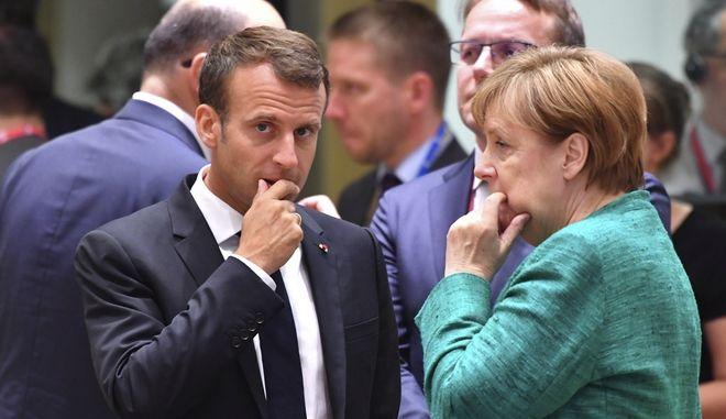 Φωτό αρχείου: Μέρκελ και Μακρόν στη Σύνοδο Κορυφής
