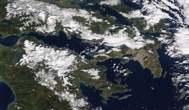 Δορυφορικές εικόνες της χιονισμένης Ελλάδας
