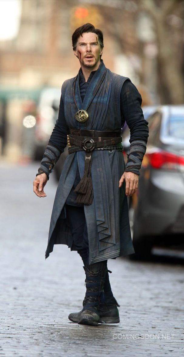 NEW YORK, NEW YORK - APRIL 02:  Benedict Cumberbatch filming Marvel's