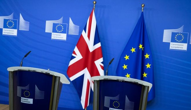 Two rostrums stand prepared for a possible joint statement after a dinner meeting by Britain's Prime Minister Boris Johnson and European Commission president Ursula von der Leyen, in Brussels, Belgium, Wednesday Dec. 9, 2020. The political leaders are meeting in the hope of finalising a Brexit trade deal between Britain and the European bloc. (Aaron Chown/Pool via AP)