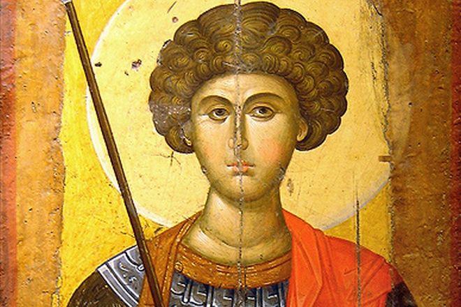 Εικόνα του Αγίου Γεωργίου από εργαστήριο της Κωνσταντινούπολης του 14ου αιώνα. Εκτίθεται στο Βυζαντινό και Χριστιανικό Μουσείο στην Αθήνα