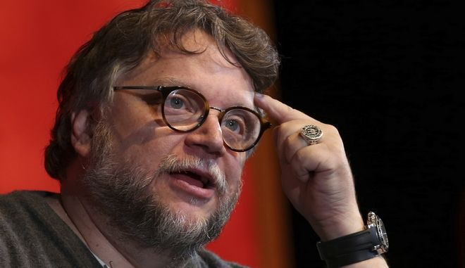 """Mexican film director Guillermo del Toro speaks during a masterclass on his Oscar-winning film """"The Shape of Water,"""" at the Guadalajara International Film Festival in Guadalajara, Mexico, Saturday, March 10, 2018. Del Toro last week took home Best Picture and Best Director Oscars for the 2017 film. (AP Photo/Refugio Ruiz)"""