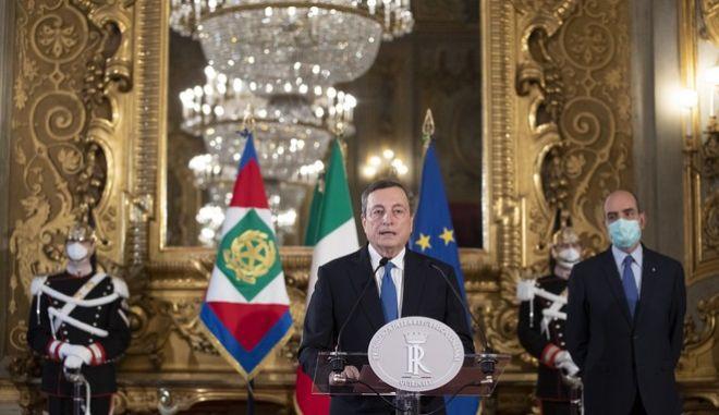 Ο Μάριο Ντράγκι μετά την αποδοχή της εντολής σχηματισμού κυβέρνησης