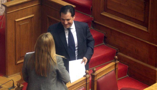 Ο Άδωνις Γεωργιάδης με την Φώφη Γεννηματά στην Βουλή τον Ιούλιο του 2013