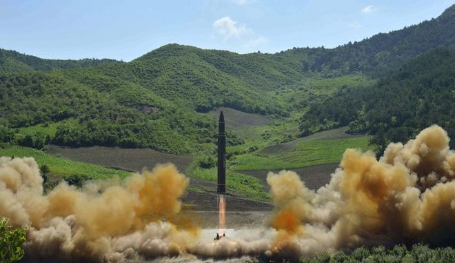 This July 4, 2017, file photo, distributed by the North Korean government shows what was said to be the launch of a Hwasong-14 intercontinental ballistic missile (ICBM) in North Korea's northwest. Kim Jong Un has something his father and grandfather could only dream of, an intercontinental ballistic missile capable of striking the United States with a nuclear weapon. Independent journalists were not given access to cover the event depicted in this photo. (Korean Central News Agency/Korea News Service via AP, File)