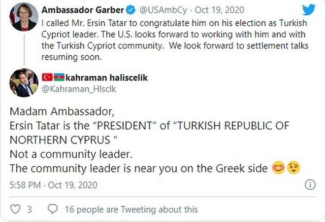 Κύπρος: Τούρκος αξιωματούχος δίνει προκλητική απάντηση στην αμερικανίδα πρέσβη στην Κύπρο