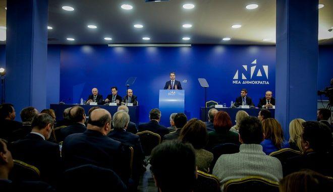 Στιγμιότυπο από τη συνεδρίαση της της ΠΓ της ΝΔ