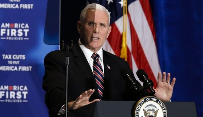 U.S. Vice President Mike Pence speaks at a event on tax cuts and the economy Council Bluffs, Iowa, Tuesday, March 6, 2018. (AP Photo/Nati Harnik)