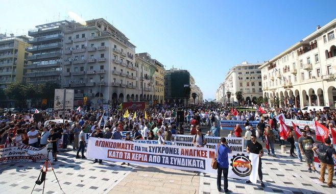 Η συγκέντρωση του ΠΑΜΕ στη Θεσσαλονίκη