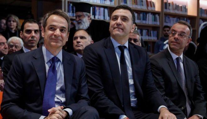 Κ. Μητσοτάκης, Β. Κικίλιας και Χρ. Σταϊκούρας (Φωτογραφία αρχείου)