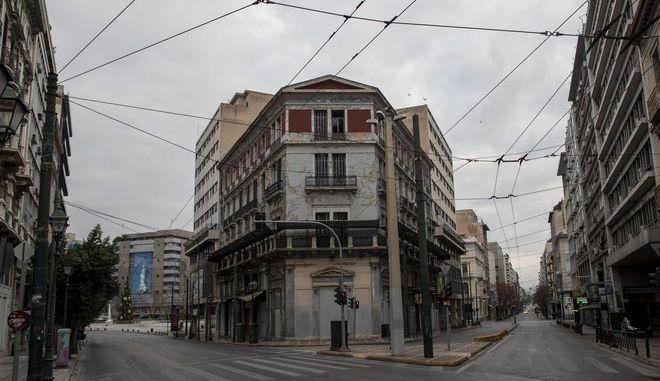 Στιγμιότυπο από την άδεια Αθήνα σε περίοδο Lockdown