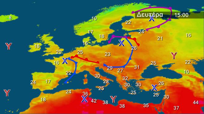 Ο χάρτης των θερμοκρασιών σε όλη την Ευρώπη