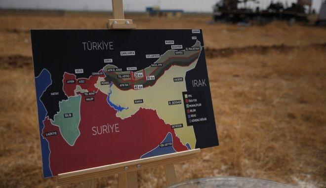 Χάρτης με τις περιοχές όπου επιχειρούν οι Τούρκοι στη Συρία