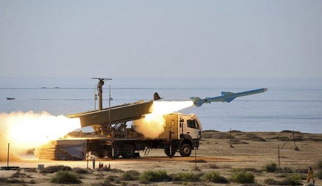 In this picture released by Iranian Students News Agency, ISNA, on Monday, Jan. 2, 2012, a Ghader missile is launched at the shore of sea of Oman during Iran's navy drill. Iran test-fired a surface-to-surface cruise missile on Monday during a drill that the country's navy chief said proved Tehran was in complete control of the strategic Strait of Hormuz, the passageway for one-sixth of the world's oil supply. The missile, called Ghader, or Capable in Farsi, was described as an upgraded version of a missile that has been in service before. (AP Photo/ISNA, Amir Kholousi)