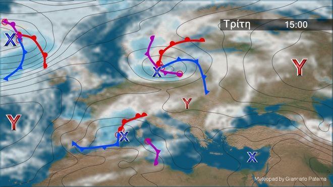 Τοπικές βροχές και κανονικές θερμοκρασίες την Τρίτη