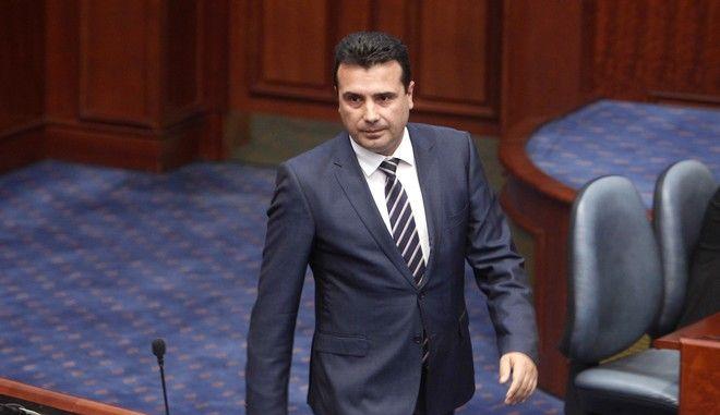 Ο πρωθυπουργός της πΓΔΜ Ζόραν Ζάεφ στη βουλή στα Σκόπια