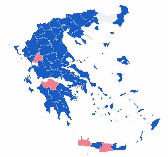 Αποτελέσματα εκλογών 2019: Ο χάρτης της Ελλάδας στο 90% της ενσωμάτωσης