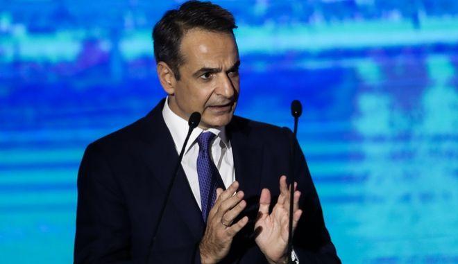 O πρωθυπουργός, Κυριάκος Μητσοτάκης, κατά την ομιλία του στην ΔΕΘ