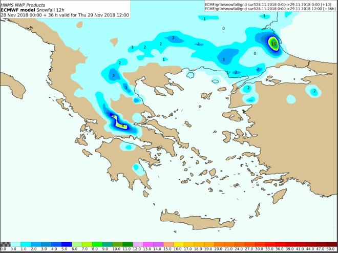 Προβλεπόμενα ύψη χιονιού από Πέμπτη 00:00 έως Πέμπτη 12:00 UTC