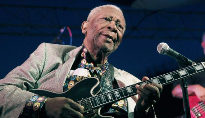 FILE -  In this file photo taken Aug. 22, 2012, B.B. King performs at the 32nd annual B.B. King Homecoming, a concert on the grounds of an old cotton gin where he worked as a teenager in Indianola, Miss. The Blues legend King is telling fans hes in hospice care at home in Las Vegas. The 89-year-old musician posted thanks to fans on his official website Friday, May 1, 2015, for well-wishes and prayers. (AP Photo/Rogelio V. Solis, File)