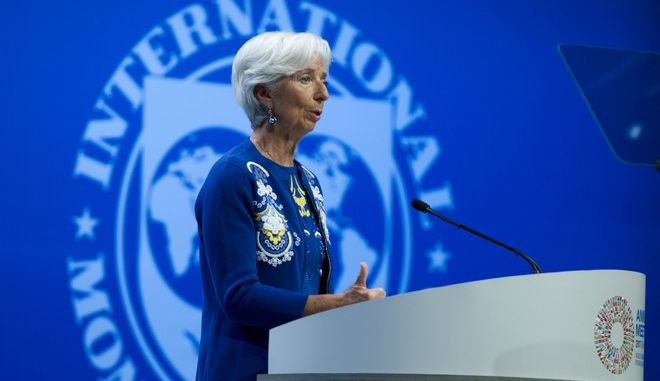 International Monetary Fund (IMF) Managing Director Christine Lagarde, speaks at the annual meetings plenary during the World Bank/IMF Annual Meetings in Washington, Friday, Oct. 13, 2017. ( AP Photo/Jose Luis Magana)