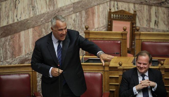 Ο υπουργός Αγροτικής Ανάπτυξης και Τροφίμων Μάκης Βορίδης στη βουλή
